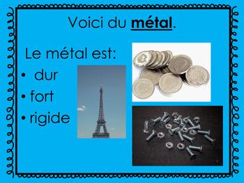 Les différents types de matériaux French PowerPoint and Activity for Grade 1 Sci