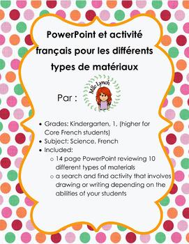 Les différents types de matériaux French PowerPoint and Ac