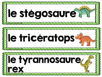 FRENCH Dinosaur Word Wall Cards / Les dinosaures/Préhistoire - Mots-étiquettes