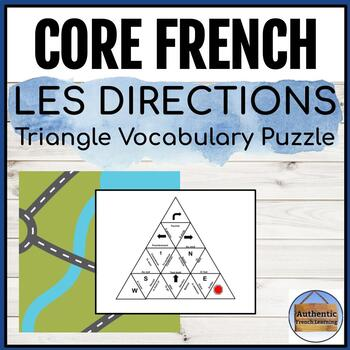 Les directions - French Directions Triangle Vocabulary Puzzle