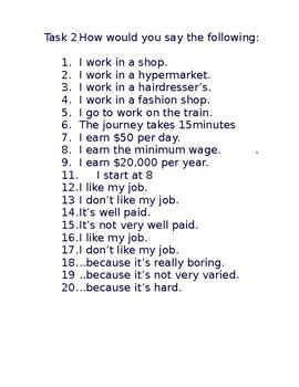 Les emplois / les petits jobs / Jobs / Part-time jobs