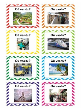Les endroits en ville, task cards, quiz quiz trade, speaking practice in French