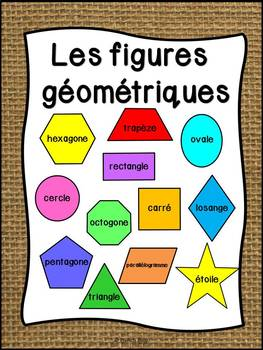 Les figures géométriques - Affiches - French shapes posters - Thème: burlap