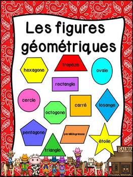 Les figures géométriques - Affiches - French shapes posters - Thème: cowboys