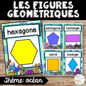 Les figures géométriques - Affiches - French shapes posters - Thème: océan