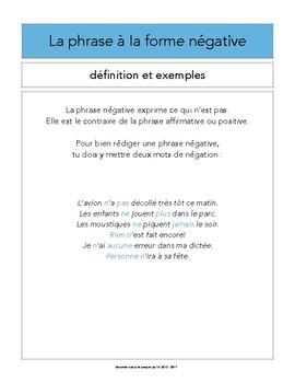 Les formes de phrase - Document de travail