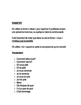 Les formes de politesse en français (tu/vous)
