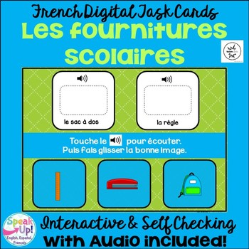 Les fournitures scolaires ~ French School Object BOOM Digital Task Cards w Audio
