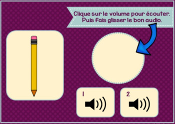 Freebie ~ Les fournitures scolaires ~ French School Object BOOM Cards w Audio
