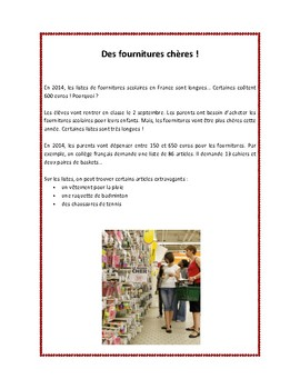 Les fournitures scolaires en France, school supplies, reading in French