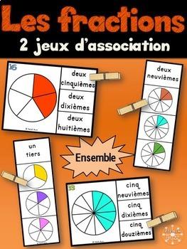 Les fractions - Ensemble 2 jeux d'association - French Fractions