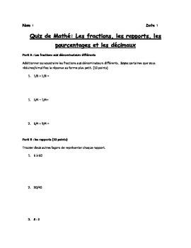 Quiz de Mathé: Les fractions, rapports et décimaux