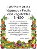Les fruits et les légumes / Fruits and vegetables BINGO