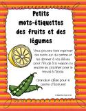 Les fruits et les légumes - Mots-étiquettes
