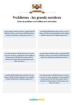 "Les grands nombres 1 - Additions de grands nombres ""ronds"" -CM1-CM2"