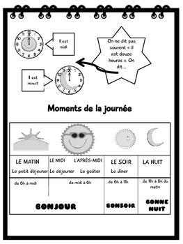 Les heures -French Elementary Unit 5