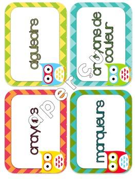 Les hiboux - Étiquettes de classe