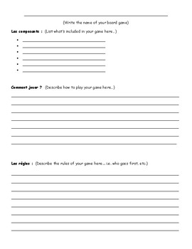 Les instructions - Board game activity
