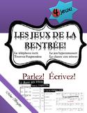 Les jeux de la rentrée - French Games for the first weeks
