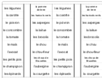 Les légumes: interactive notebook/cahier interactif French vocabulary VEGETABLES