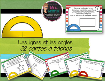Les lignes et les angles: cartes à tâches (Line and Angles Task Cards in French)