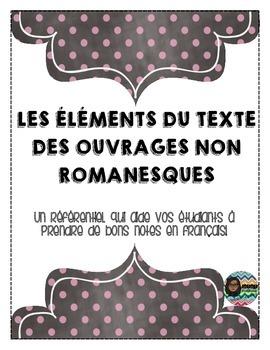 Les éléments du texte des ouvrages non romanesque