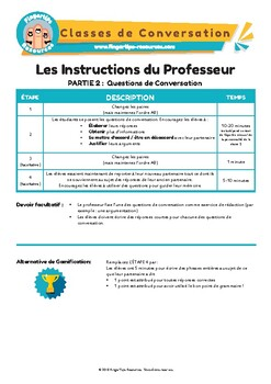 Les loisirs - French Speaking Activity