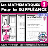 Les mathématiques - Un peu de tout - Activité pour la suppléance