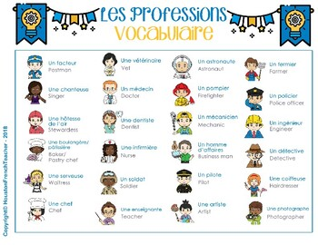 Les métiers (French Jobs) Les professions Activities Game Connect Four in a row