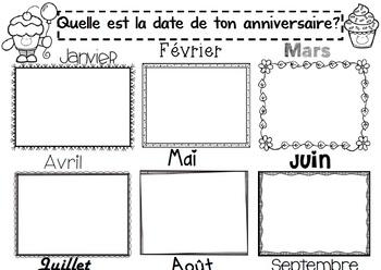 Les mois de l'année/ Months in french/ Anniversaire