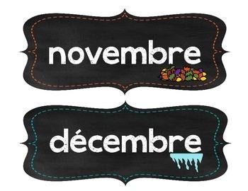 Les mois de l'année en tableau noir