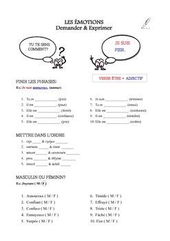 Les émotions - vocabulaire (activités, exercices, jeux, flashcards)