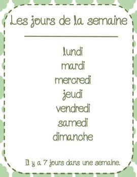 Les mots du calendrier/Calendar words French - FREEBIE