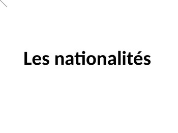 Les nationalites