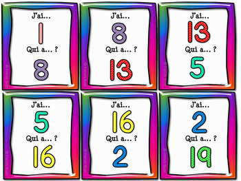 "Nombres 0-20 - jeu ""j'ai... qui a...?"" - French Numbers"