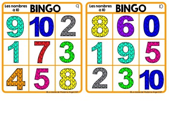 Les nombres à 10:  Numbers to 10 Bingo Game in French