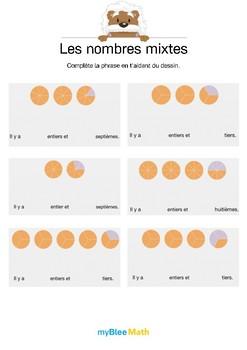 Les nombres mixtes 1 - Complète la phrase grâce au dessin
