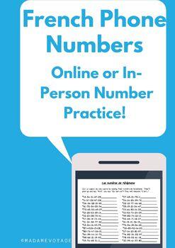 Les numéros de téléphone (French number practice activity)