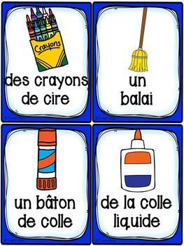Les objets dans la classe - 47 cartes de vocabulaire
