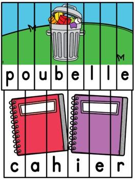Les objets dans la classe - French classroom objects- 38 puzzles