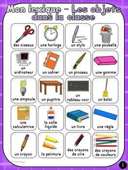 Les objets dans la classe - vocabulaire et lexique