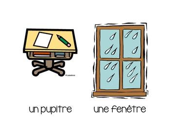 Les objets de la salle de classe - Classroom Objects Flashcards in French