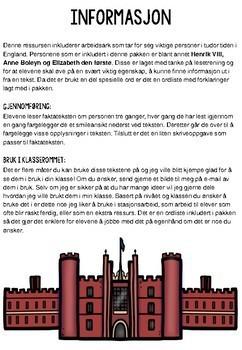 Les og forstå faktatekster! Personer fra Tudor tiden FREEBIE