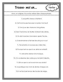 Les parties de discours - Fiches de travail (Parts of Speech Worksheets)