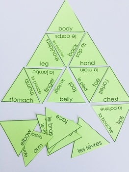 Les parties du corps French body parts vocabulary puzzle and task cards