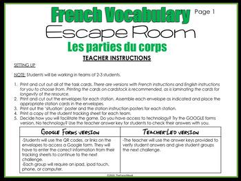Les parties du corps French body part vocabulary escape room