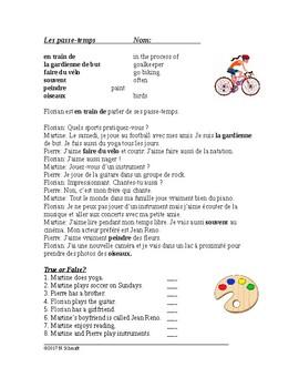 Les passe-temps Lecture en Français - Hobbies Reading/Script in French