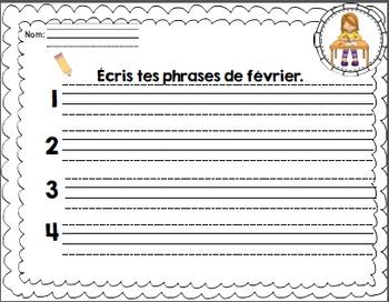 Les phrases du mois de Février/ French sentences of February