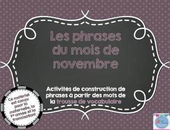 Les phrases du mois de novembre/ French sentences of November