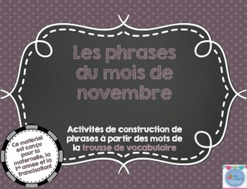Les phrases du mois de novembre/ French sentences of November